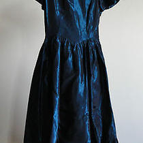 Jessica Mcclintock Irridescent Blue Taffeta Dress Sz 12 Photo