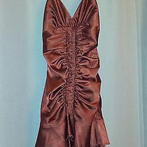 Jessica Mcclintock Satin Orange Short Formal Dress Size 4 Photo