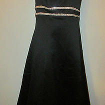 Jessica Mcclintock  Short Black Rhinestone Formal Prom Dress Womens Misses 4 Euc Photo
