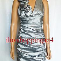 Jessica Mcclintock Silver Ruched Taffeta Dress Size 2   180 Photo