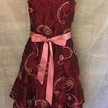 Jessica Mcclintock Strapless Corset Dress Red Violet/burgundy Pink Ribbon Jr 6 Photo