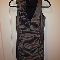 Jessica Mcclintock Stretch Gray Taffeta Dress Petite Size 4 Photo