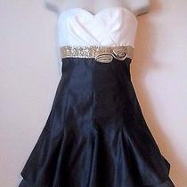 Jessica Mcclintock Sweetheart Gold Black Holiday Short Formal Homecoming Dress 3 Photo