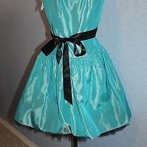 Jessica Mcclintock Teal & Black Short Party Formal Gown Dress Juniors Size 7/8 Photo