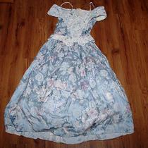 Jessica Mcclintock Vintage Dress Rayon Blue Off Shoulder Floral Lace 10 Photo