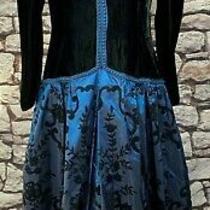 Jessica Mcclintock Vtg Blue Taffeta & Black Velvet Midi Dress Size L Xl 12 / 14 Photo
