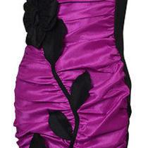 Jessica Mcclintock Women's Applique Taffeta Strapless Dress 4 Magenta/black Photo