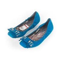 Jessica Simpson 10 M Lafayette Yacht Blue Suede Flats New Womens Shoes Photo