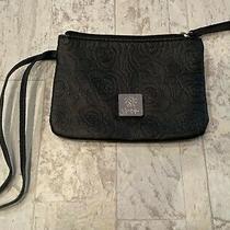 Jessica Simpson Black Floral Wristlet Clutch Purse Bag W/ Zipper 6