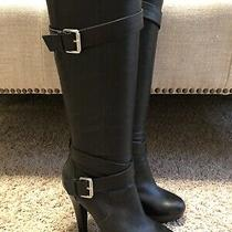Jessica Simpson Black Jp-Addison Leather High Heel Boots Size 37 Photo