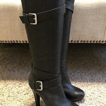 Jessica Simpson Black Jp-Addison Leather High Heel Boots Size 37 Photo