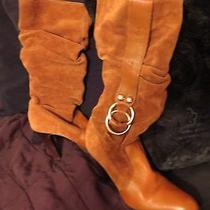 Jessica Simpson Camel Suede High Heeled Boot W/silver Ring Accents 7.5 Photo