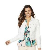 Jessica Simpson Denim Jacket White Jeans Jacket Stretchy Size Xs Read Photo