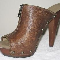 Jessica Simpson Distressed Brown Leather Mule W/zipper & Stud Detail 8.5m -119 Photo