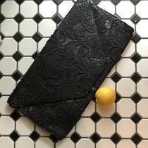 Jessica Simpson Fancy Floral Black Lace Envelope Clutch Purse Evening Bag Euc Photo