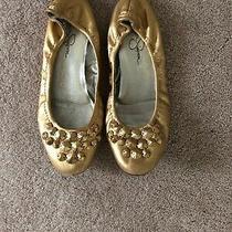 Jessica Simpson Gold Ballet Flats Size 6 Jeweled Photo