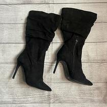 Jessica Simpson Heeled Boots Scrunch Black Faux Suede Flaw Womens Size 8 Wide Photo