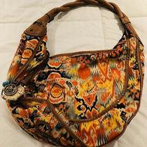 Jessica Simpson Hobo Bag Tan Leather Braided Strap Boho Yellow Red Orange Photo