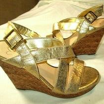 Jessica Simpson Jerrimo Gold Strappy Wedge Sandals 8 M Euc Photo