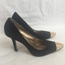 Jessica Simpson Jp Dazed Gold Cap Toe Pointed Black Suede Heels Size 9.5b Photo
