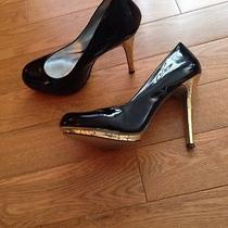 Jessica Simpson Layla Heels Size 8 Shiny Black Gold Heel Party Wedding Shoes Photo