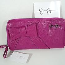 Jessica Simpson Magenta Double Zipper Wallet or Clutch Nwt Photo