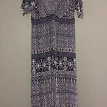 Jessica Simpson Maternity White Navy Blue Striped Paisley Maxi Dress Womens S Photo