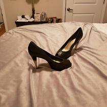 Jessica Simpson Ombre Leather Pumps Black White Ombre Heel Peep Toe 7 Photo