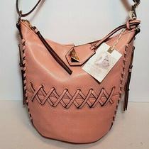 Jessica Simpson Pink Coral Hobo Laced Bucket Crossbody 3 Outside Pockets Nwt  Photo