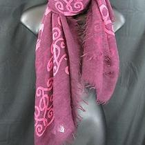 Jessica Simpson Pink Purple Scarf Lightweight 100% Acrylic 56x56 Inches Photo