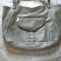 Jessica Simpson Purse Hobo Shoulder Bag Stuuded Strap Gray Side Zip to Make Big Photo