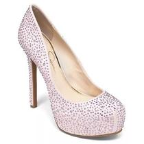Jessica Simpson Rebeca 2 Powder Pink Micro Suede Rhinestones Platform Pump 7.5 M Photo