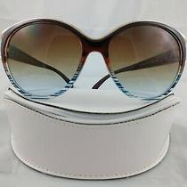 Jessica Simpson Sunglasses J5384 Brown Gold Blue Striping W/case Photo