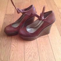 Jessica Simpson Wedge Heels Brown Wood Leather Sz 8 Ankle Tie Party Wedding Shoe Photo