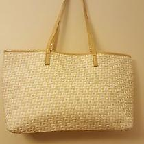 Jessica Simpson White and Beige Basket Weave Tote Bag  Photo
