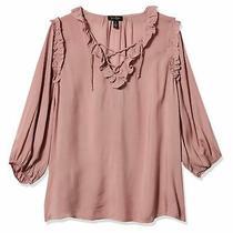 Jessica Simpson Women's Blouse Blush Pink Size Xs Lace Up Ruffle Trim 69 243 Photo