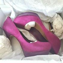 Jessica Simpson Women's Suede Heels Excellent Condition... Fuchsia Size 8 Photo