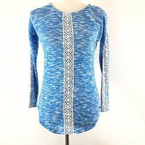 Jessica Simpson Womens Pullover Sweater Size Xs Blue White Printed Lace Trim L/s Photo