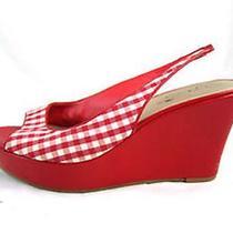 Jessica Simpson Womens Sandals Platform Wedge High Heels 6 1/2 Red Plaid Slingbk Photo