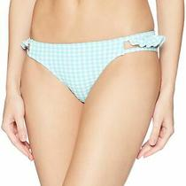 Jessica Simpson Womens Swimwear Blue Large L Plaid Ruffle Bikini Bottom 44 513 Photo
