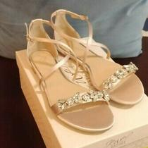 Jewel Badgley Mischka 8.5 Tessy Embellished Flat Sandal Champagne Brand New Photo