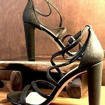 Jewel Badgley Mischka Diora Glitter Black Strappy Sandal-Sz 9 Us Photo