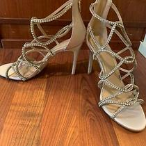 Jewel Badgley Mischka Women's Delancey Sandal Champagne Satin Size 8.0  Photo