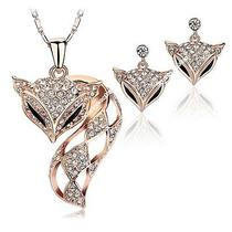 Jewelry Set Fox 18k Rose Gold Plated Swarovski Crystal Necklace Earring N1154 Photo