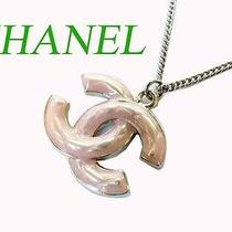 Jf Authentic Chanel  Coco Mark Necklace Pink Used Photo