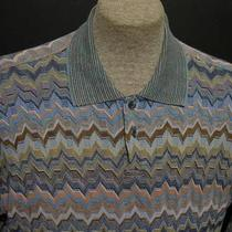 Jhane Barnes Polo Rugby Shirt Sz Xl in Great Aqua-Multi-Color Geometric Photo
