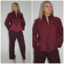 Jil Sander Burgundy Wine Colored Pants With Reversible Jacket Maroon Wine 40 M L Photo