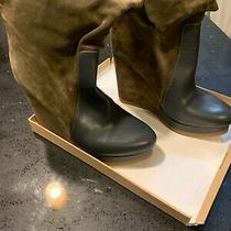 Jil Sander Butter Leather Navy and Green Suede Wedge Boots Size 10 Photo