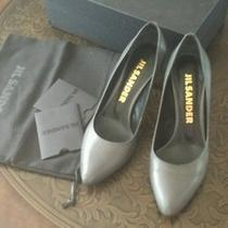 Jil Sander Classic Gray Kid Leather Pumps 36.5 Like New Photo
