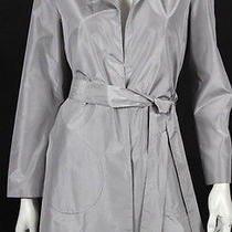 Jil Sander Metallic Silver Silk Taffeta Belted Coat 34 Photo